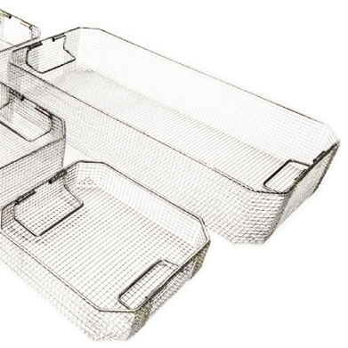 Stainless steel mesh baskets for sterilizing medical tools